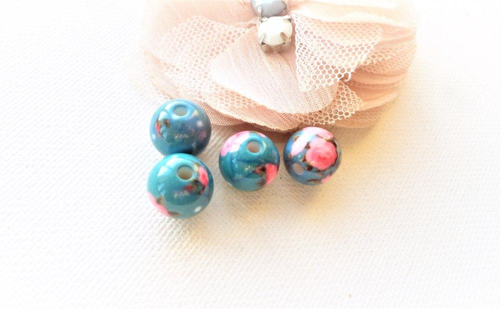 perle ronde turquoise et rose,perle fleuri, vintage,