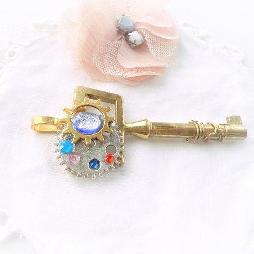1 Pendentif motif rayures CARREFOUR verre style MURANO feuille argente bijoux