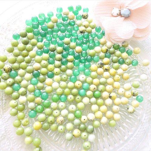 Lot jade mixte vert, perle jade , ronde  6mm, citron, vert mousse, gemme, naturel,
