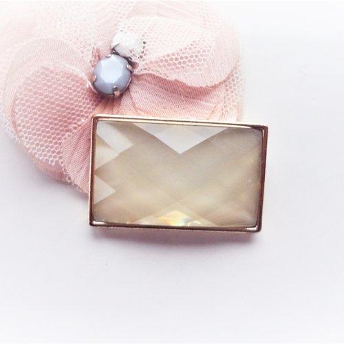 Connecteur rectangle verre, verre facette, rose pale, pendentif, vintage, laiton,