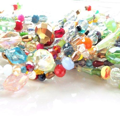 Perle verre facette, lot mixte, assortiment perle, brin, verre , electro plaqué