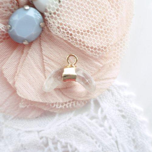 Pendentif demi lune pierre, croissant de lune, quartz naturel,, perle, pierre, gemmes,