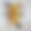Doudou chien - doudou rigolo en polaire, minky et coton - h : 28 cm - jaune, noir et gris