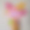 Doudou plat rigolo en polaire et minky - rose, jaune, vert - peluche bébé