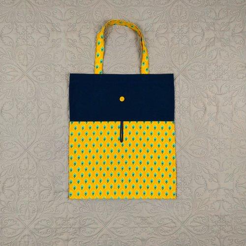 Sac de courses pliable / enroulable motif plumes de paon jaune / bleu nuit