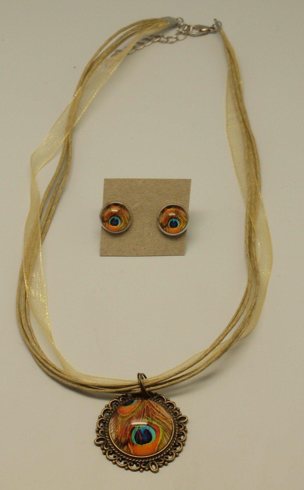 Collier avec cabochon illustré de 20 mm avec motif plume paon ocre