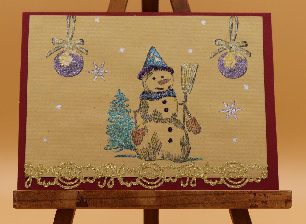 Carte Paysage de noël avec bonhomme de neige
