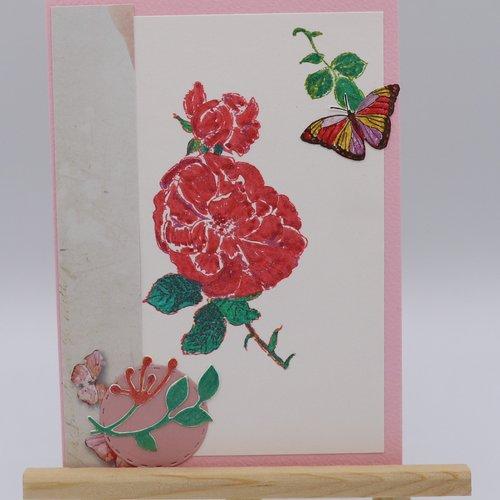Carte Anniversaire Fleur Rouge Avec Papillon Un Grand Marche