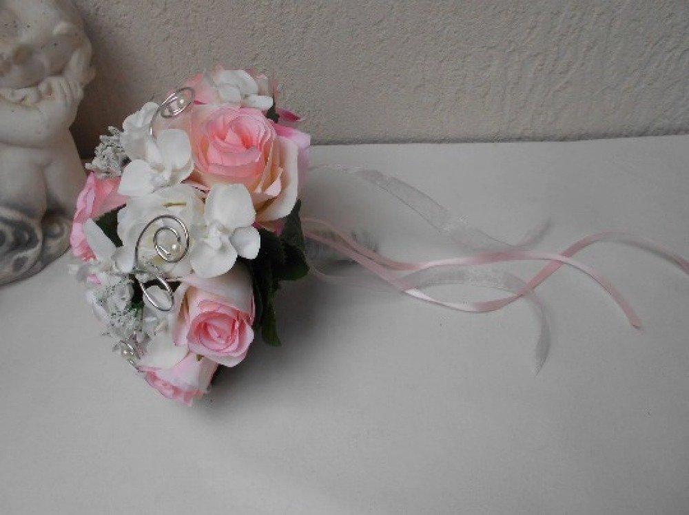 """Bouquet de mariée """"Carmen"""" -Blanc rose poudré et argent"""