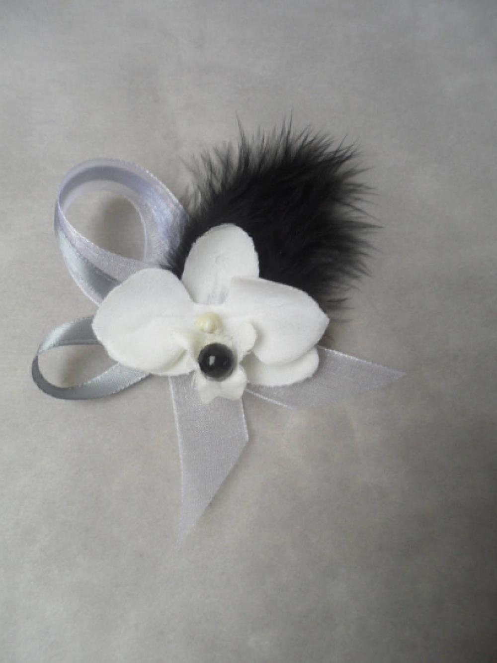 Boutonnière - Broche pour mariage - Noire blanche et grise