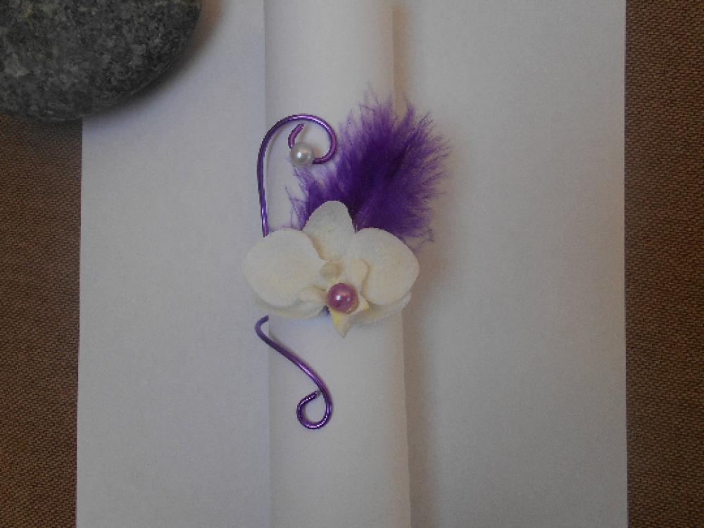 Rond de serviette avec orchidée artificielle,violet,mariage