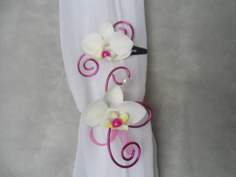 Parure enfant - barrette et bracelet fleuri - fuchsia et ivoire