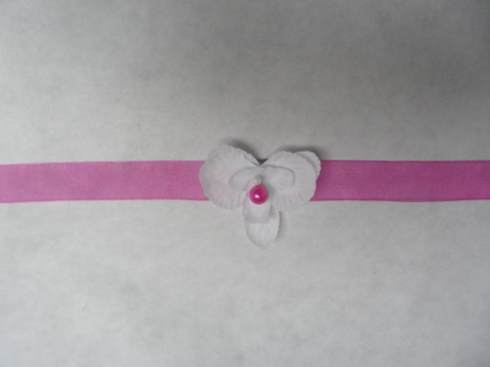 Bracelet enfant ou bébé - fuchsia et blanc avec orchidée