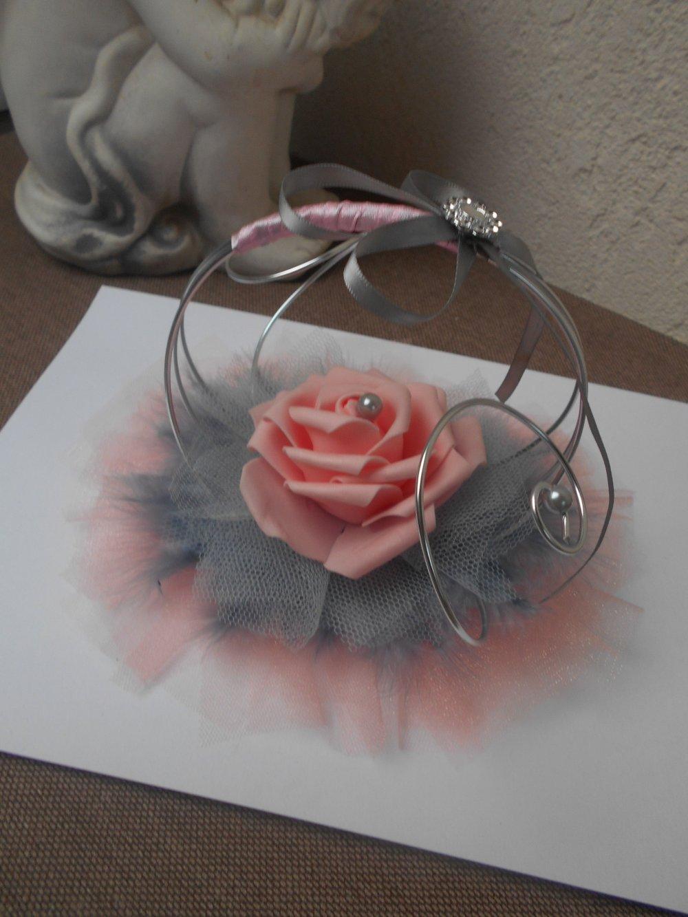 Porte alliances  rose saumon, gris et argent