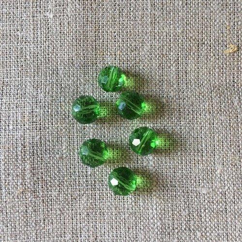 6 perles en cristal à facettes
