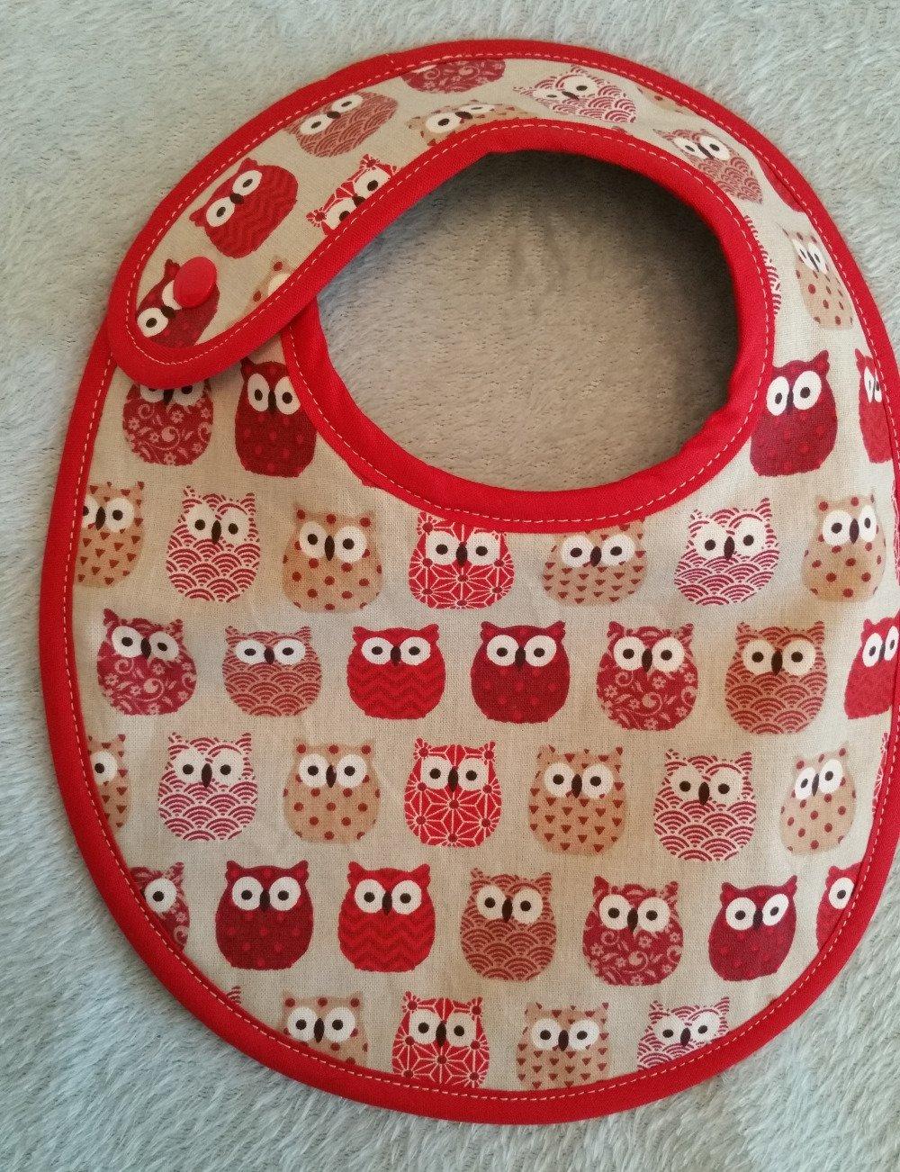 Bavoir bébé hiboux rouges