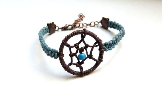 Bracelet attrape-rêves en coton chocolat et bleu