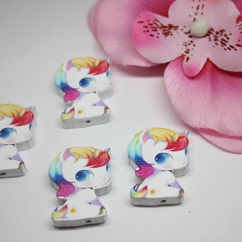 Lot 250 perles bois licorne multicolores 28x22mm -créations bijoux- sc0098299