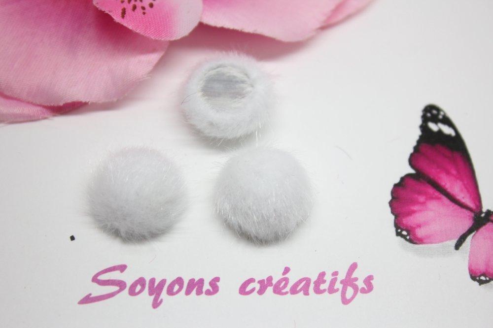 5 Cabochons fausse Fourrure blanc 15mm