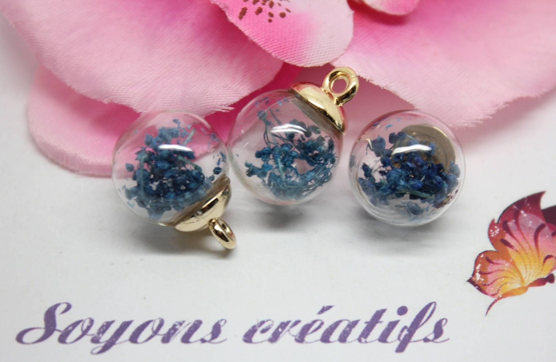 5 Pendentifs Globe En Verre Doré fleurs séchées bleu paon-22x16mm-