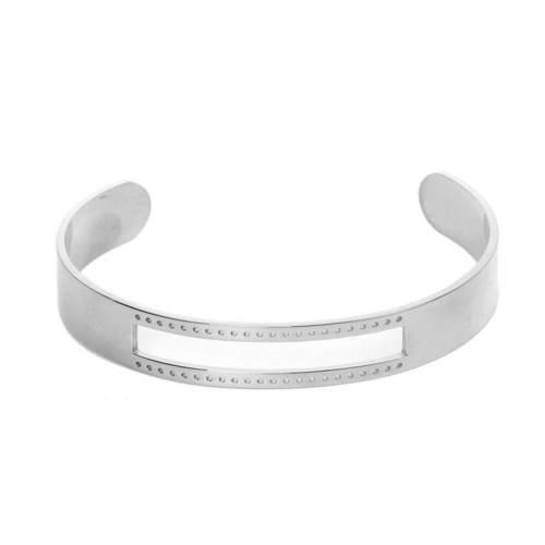 Support Bracelet Jonc Argenté Mat ouvert à personnaliser avec incrustation de 10