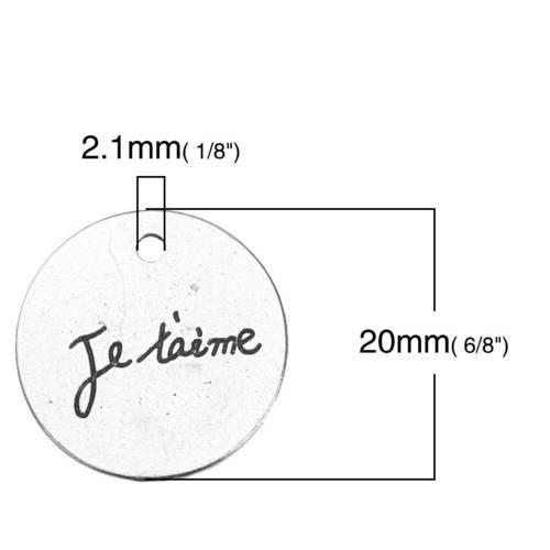 """10 Breloques Charm Argenté Rond /""""Merci Maman/"""" 20mm création bijoux"""