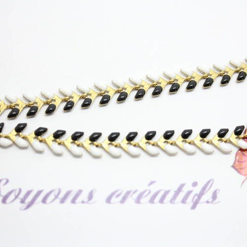 10cm de Chaine Epi doré Noir et Blanc émail 7x6mm création bijoux SC0081261