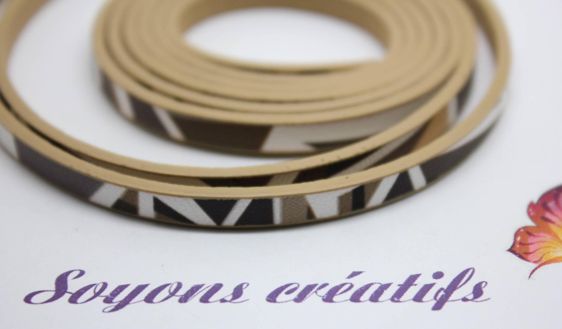 1 m de Lanière en Cuir motif géométrique Marron 5mm - Création Bijoux - PS02305 -