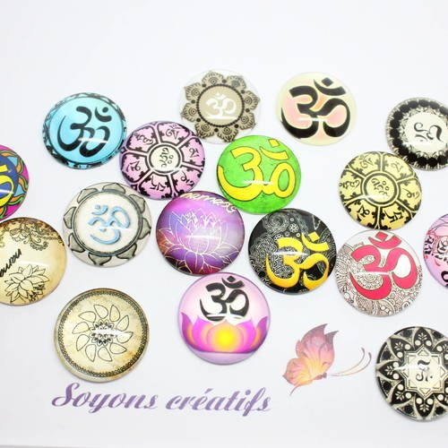 Lot 20 Cabochons en verre Motif OHM Chakra Indou 12mm à coller SC78501
