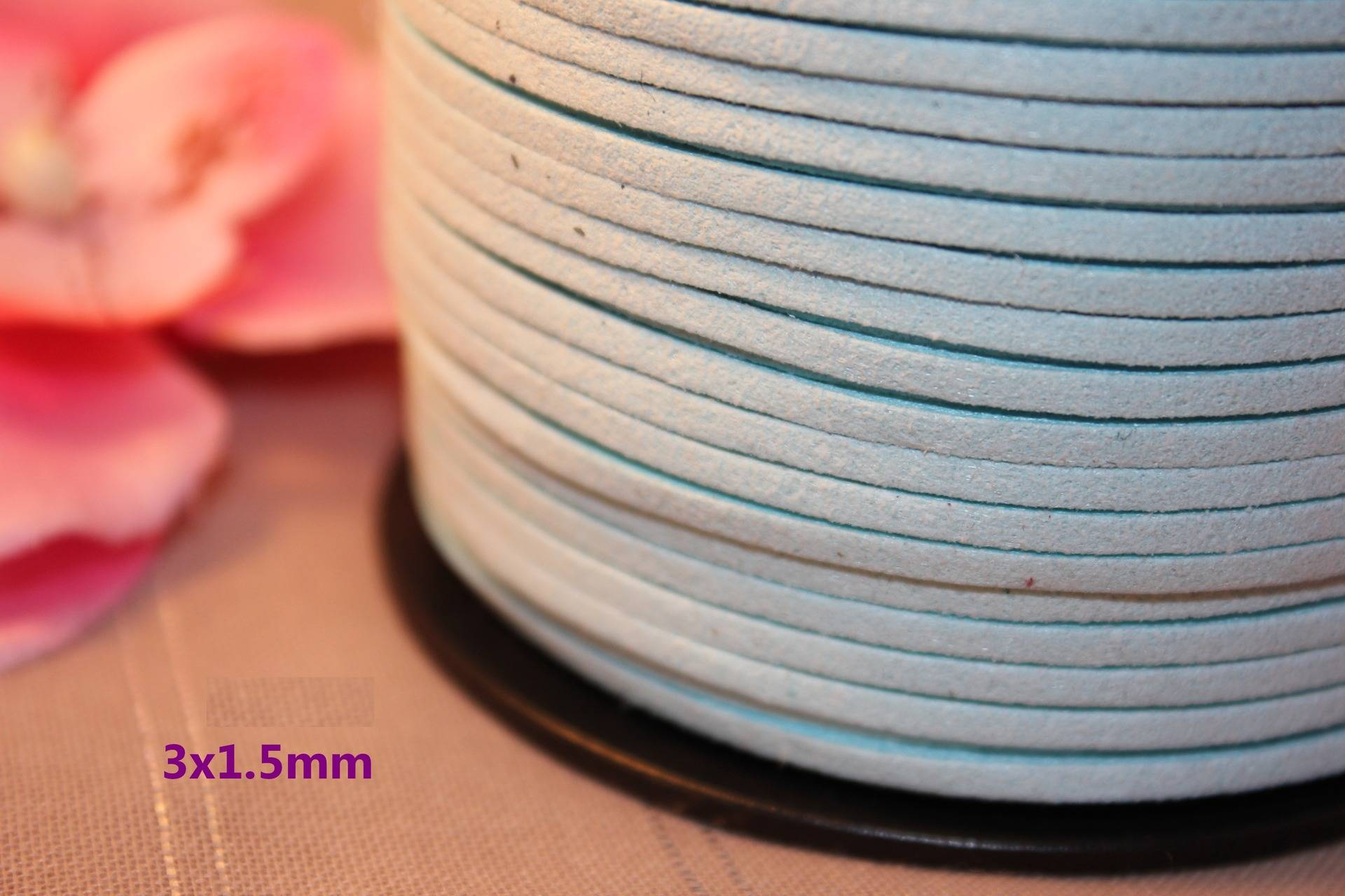 5m Ruban Cordon Suédine 3x1.5mm Bleu