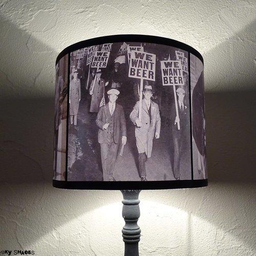 Abat jour cylindrique noir et blanc pour lampe à poser prohibition - diamètre 25 cm - décoration bar