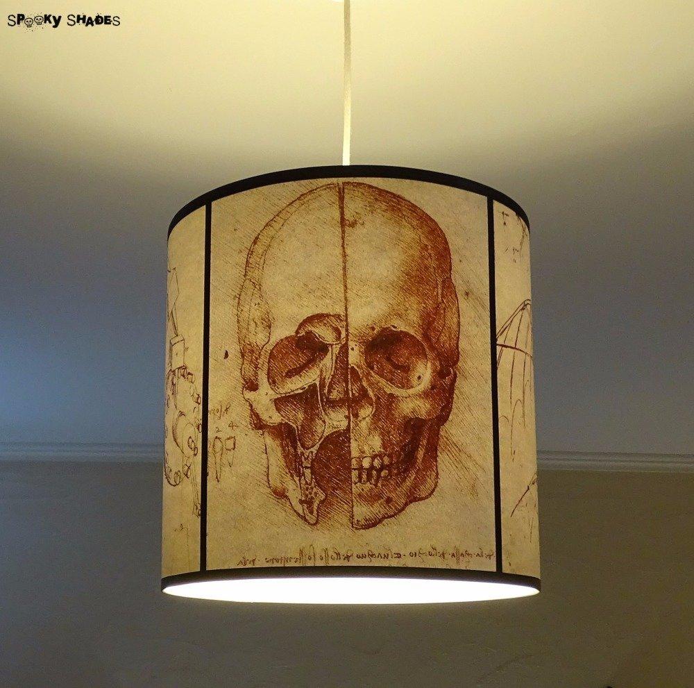 Suspension tête de mort gothique léonard de vinci crâne, lampe plafond, lampe à suspendre, anatomie, halloween, plafonnier