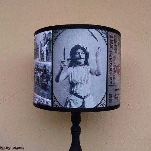 Abat jour original cirque vintage noir et blanc pour lampe à poser diamètre 25 cm - burlesque, décoration bohème, lampe sur pied