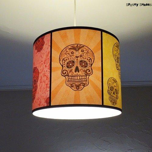 Suspension multicolore têtes de mort mexicaines diamètre 35 cm rainbow skulls lampe à suspendre, lampe plafond, sugar skull