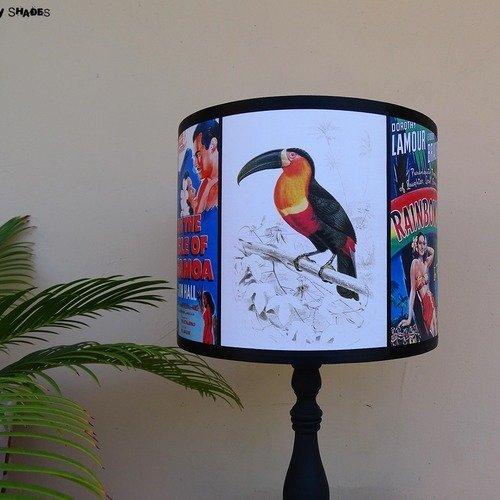 Abat jour vintage tropical toucan 25 cm - perroquets, palmiers, lampe de table, pin-up, lampe toucan