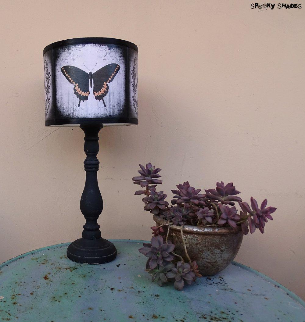 Abat jour Papillon pour lampe à poser - diamètre 25 cm - cabinet de curiosités, décoration victorienne, insecte, nature