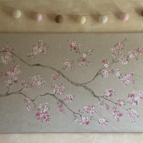 Tableau sur toile de lin fleurs de cerisier roses 117x75cm