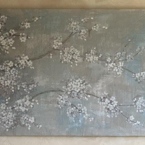 Fleurs de cerisier peintes sur lin panneau  de 122 cm x 77 cm