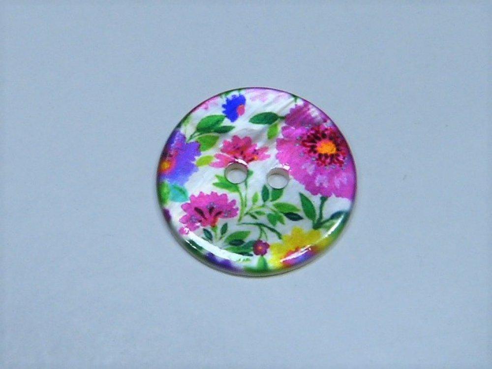 Boutons nacre rose & fleuri 17 mm