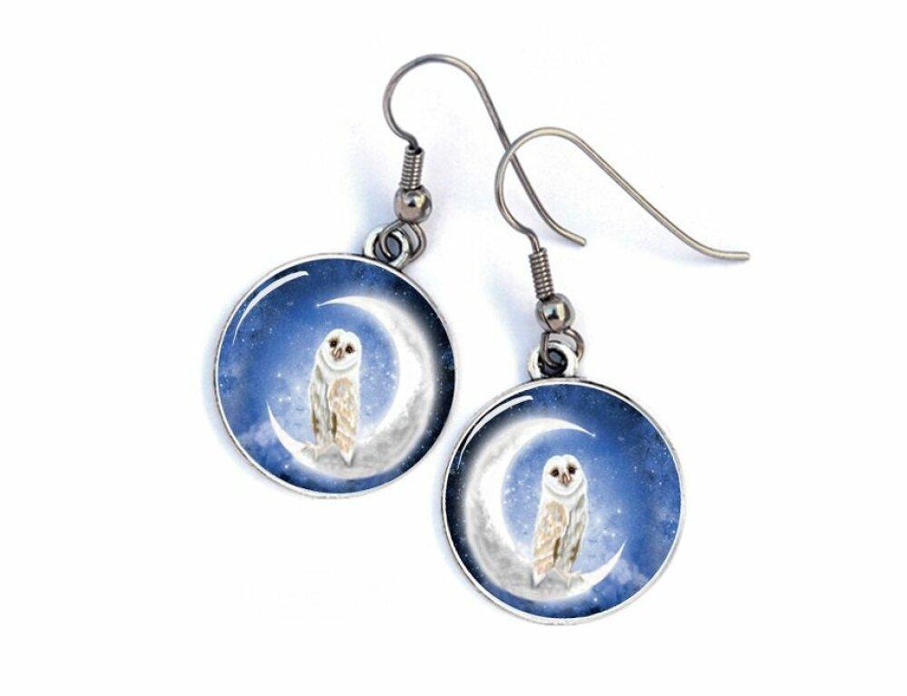 Boucles d'oreilles hibou au clair de lune bleues,cabochon résine . 36