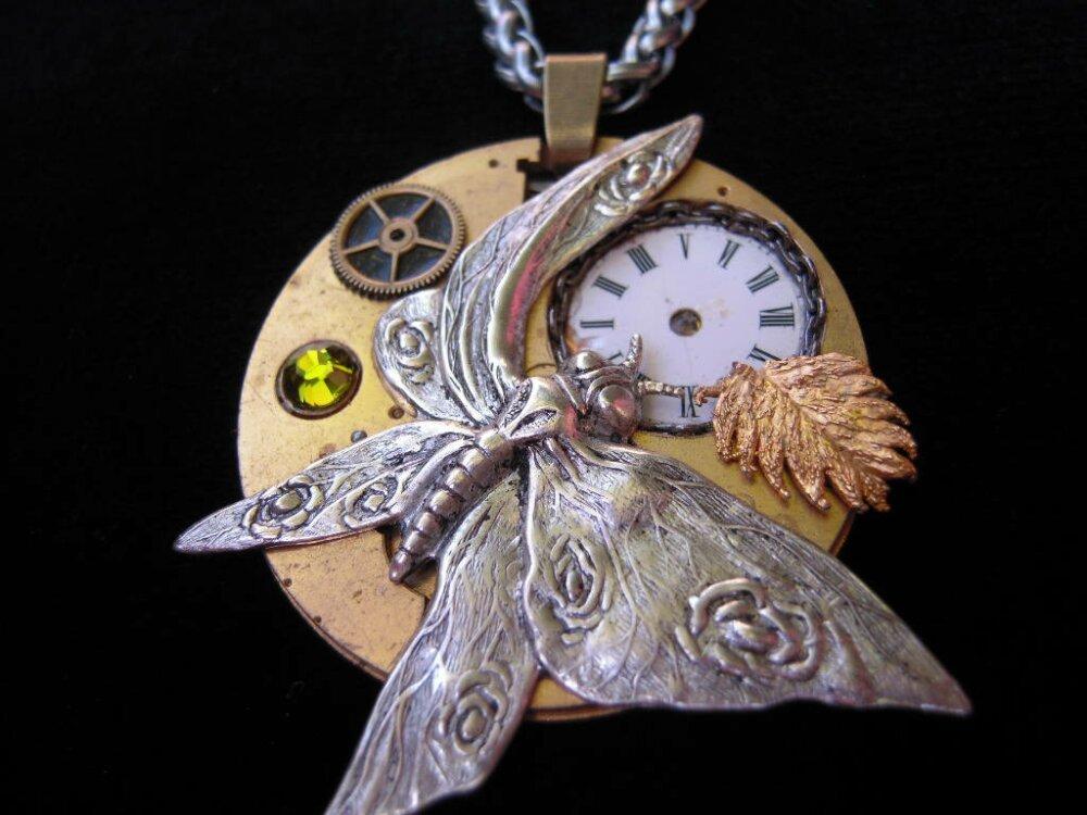 Collier steampunk papillon réversible,mécanisme montre gousset,cristal Swarovski,A519