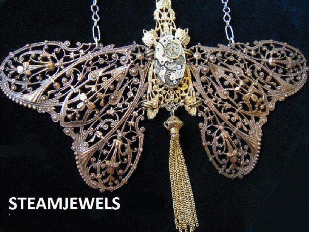 Grand collier papillon steampunk filigranes 1920 chaîne argent poinçonnée,Pièce unique, A494