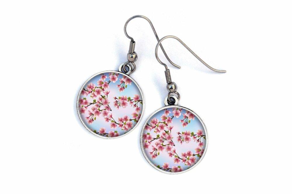 Boucles D'oreilles fleurs,cerisier du Japon,rose et bleu 0400