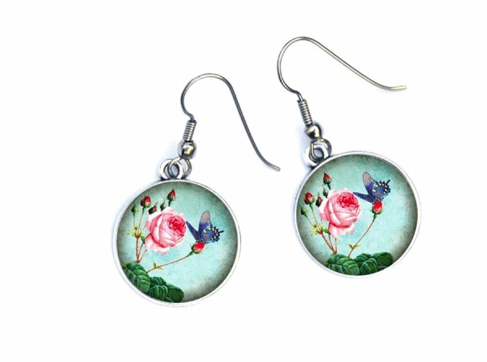Boucles D'oreilles papillon et fleur bleu et rose, 07