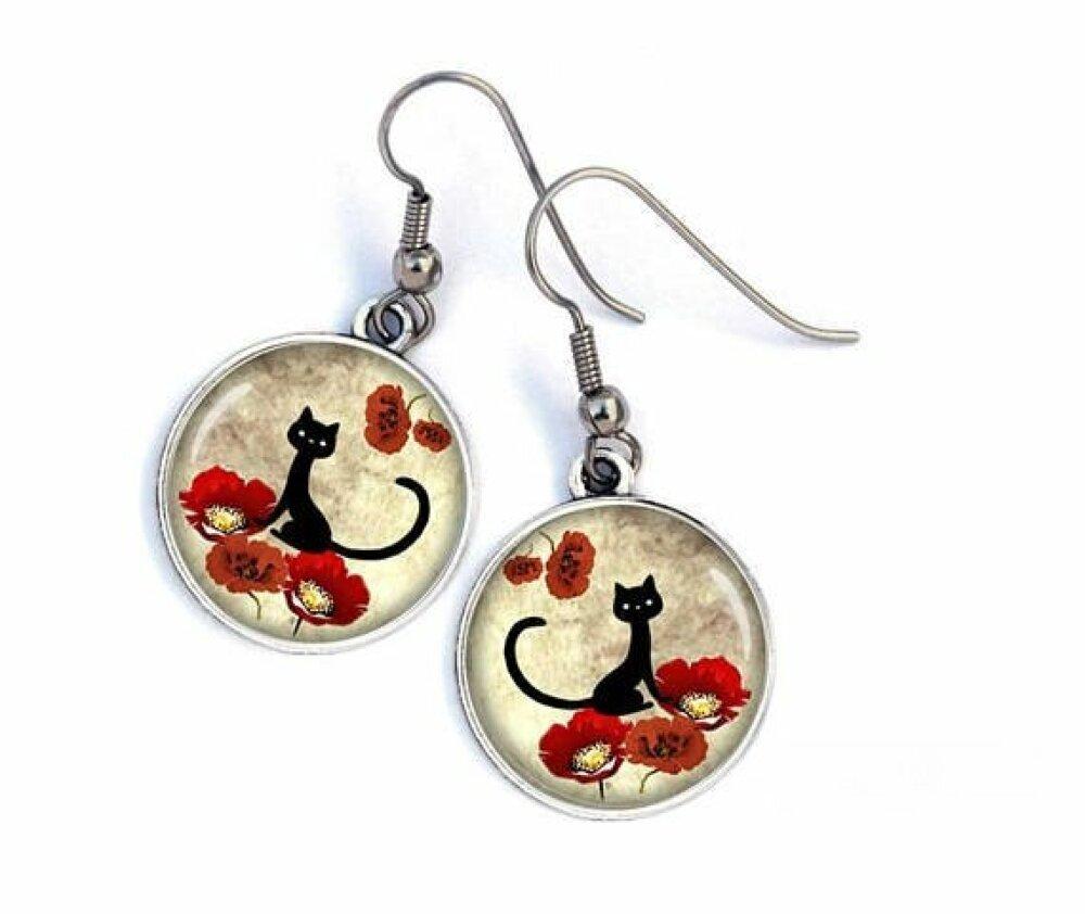 Boucles D'oreilles chat,fleurs coquelicots rouges,chat noir,chat et fleurs 01