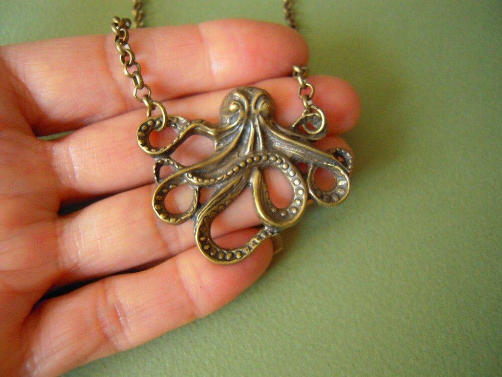 collier pieuvre octopus steampunk A543