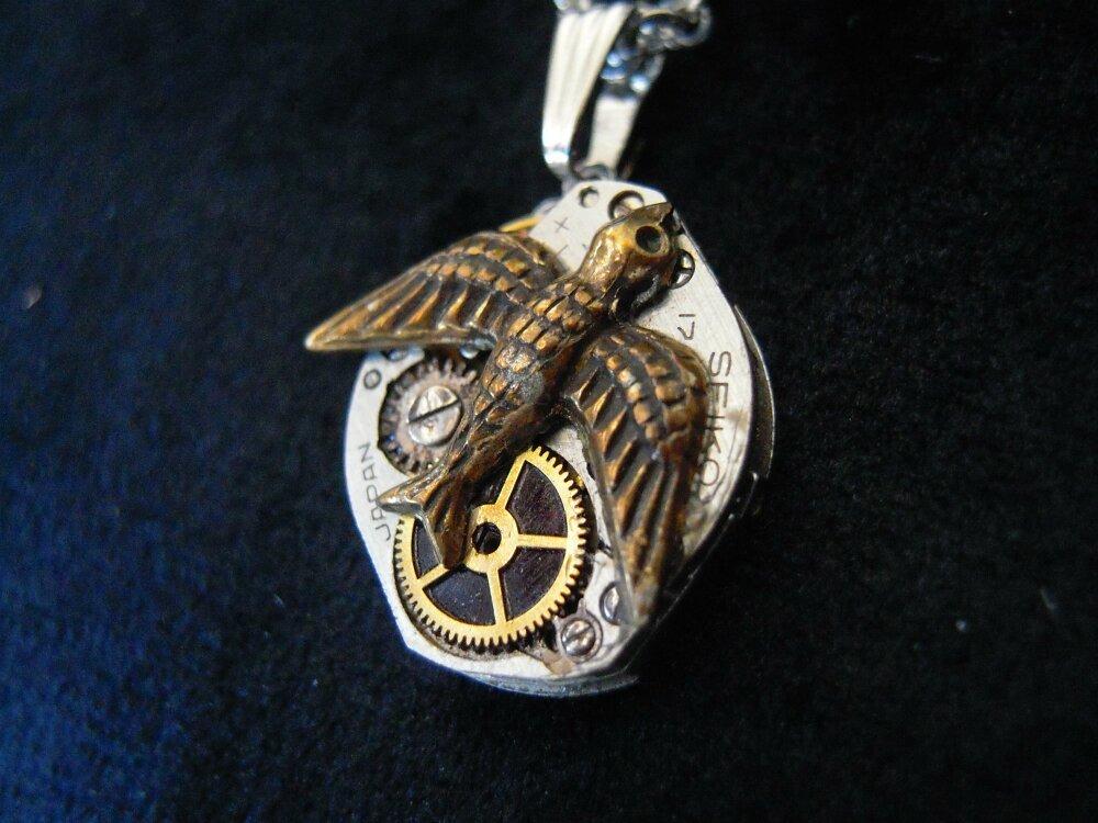 Collier oiseau steampunk A551
