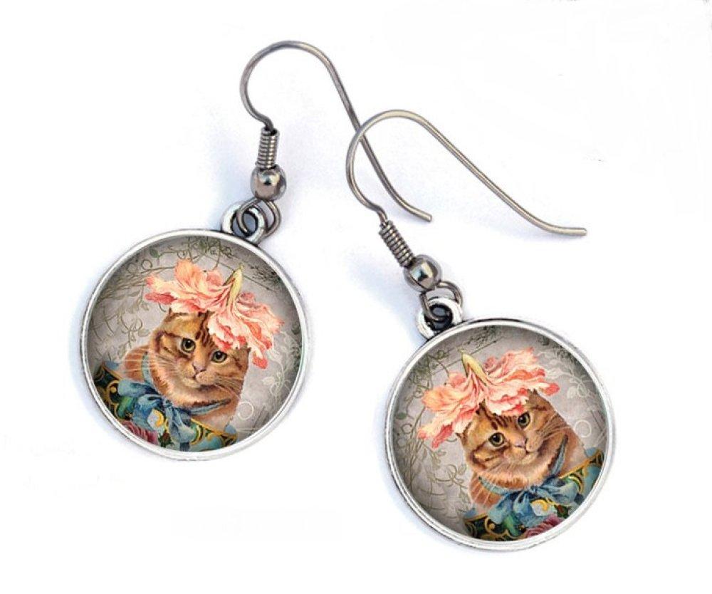 Boucles d'oreilles chat fleur clochette , shabby,