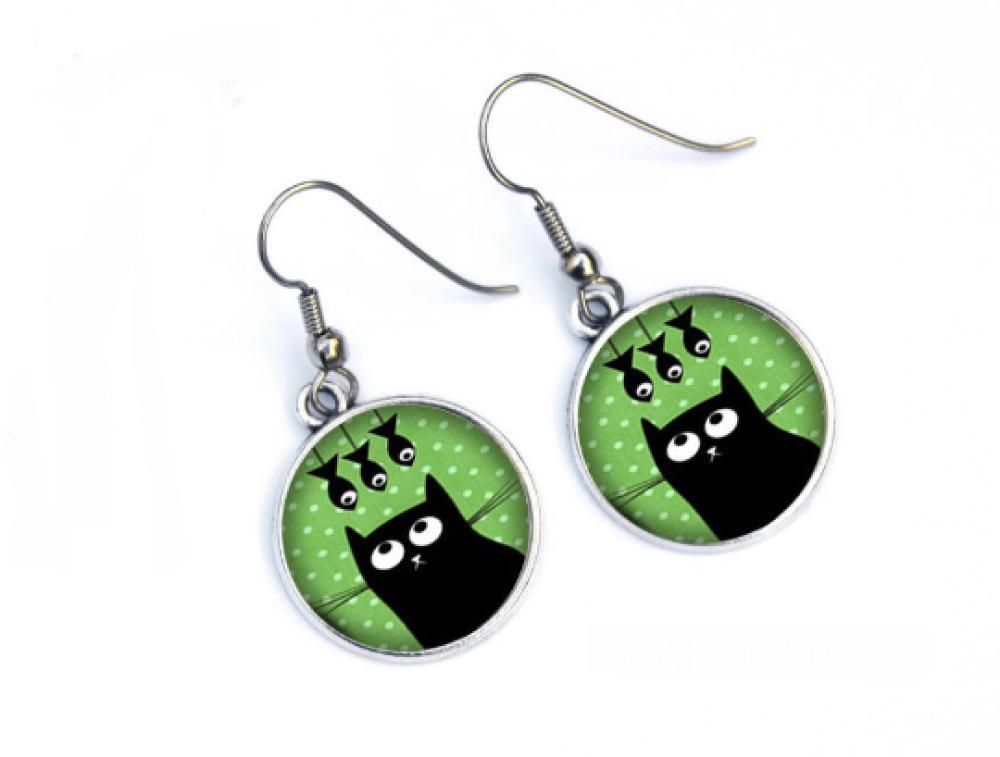 Boucles d'oreilles humour chat noir et poissons