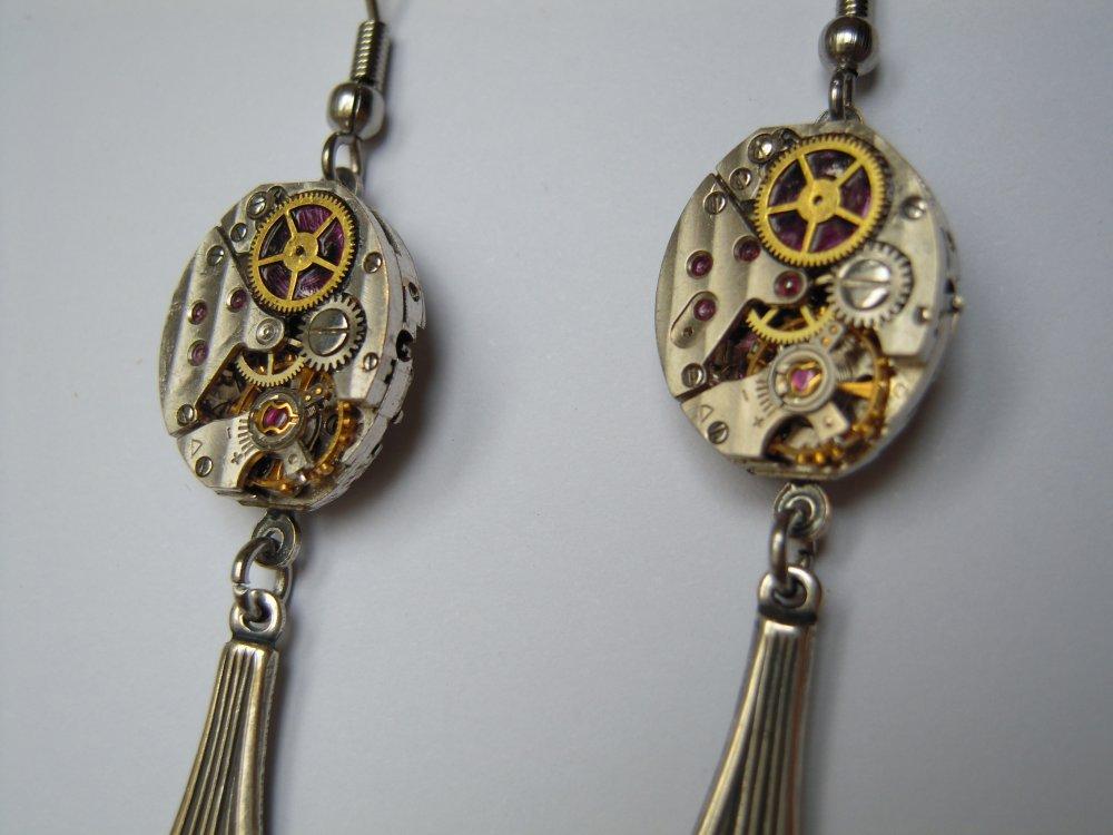 Boucles D'oreilles Art Déco mécanismes de montre D39